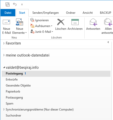 1&1 IMAP E-Mail-Konto in Outlook