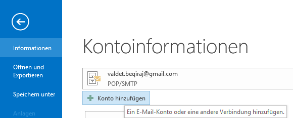 Hotmail IMAP E-Mail-Konto in Outlook